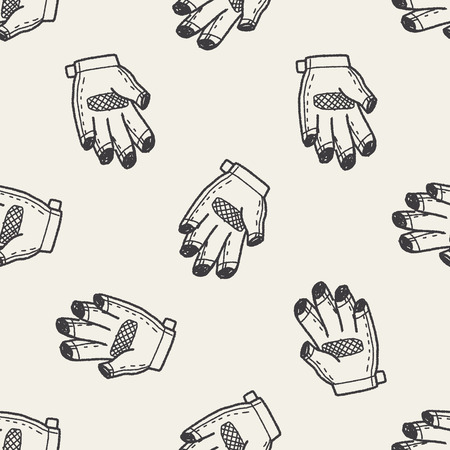 bike glove doodle seamless pattern background Vector