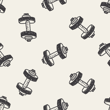 hand lifting weight: dumbbell fitness doodle seamless pattern background Illustration