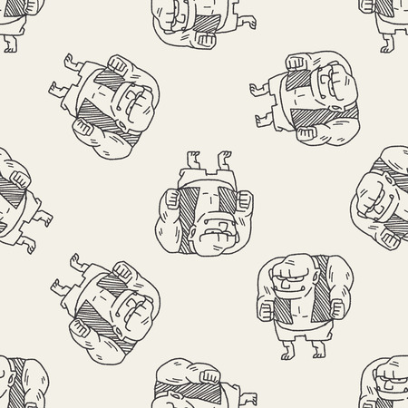 david and goliath: giant ogre doodle seamless pattern background Illustration