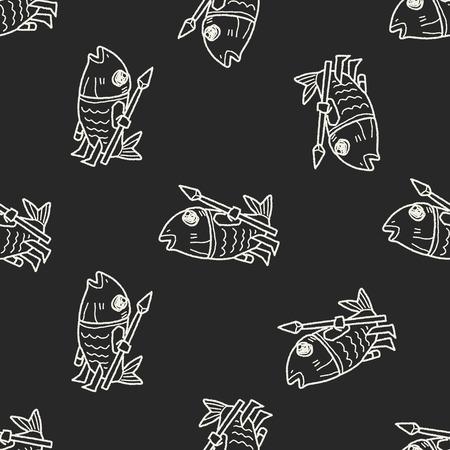 devil fish: monster doodle seamless pattern background