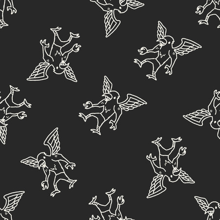 griffin: griffin doodle seamless pattern background Illustration