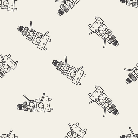 xilofono: Doodle xilófono fondo sin patrón Vectores