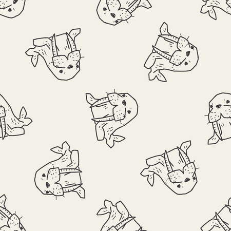 walrus doodle seamless pattern background Vector