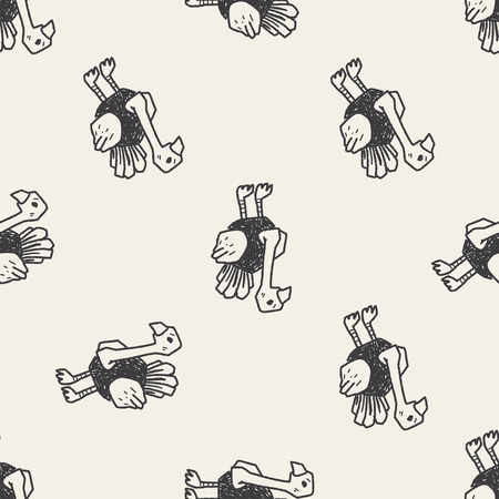 ostrich: ostrich doodle seamless pattern background