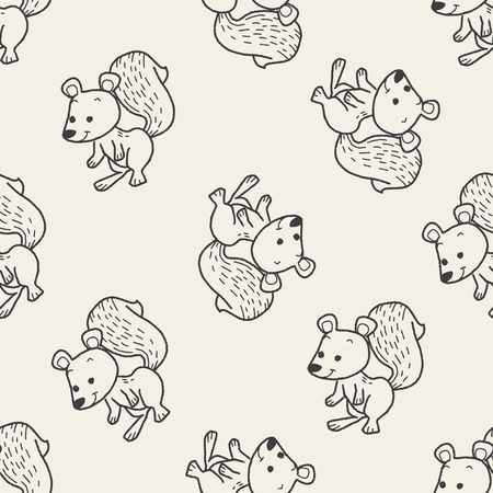 squirrel doodle seamless pattern background Vector