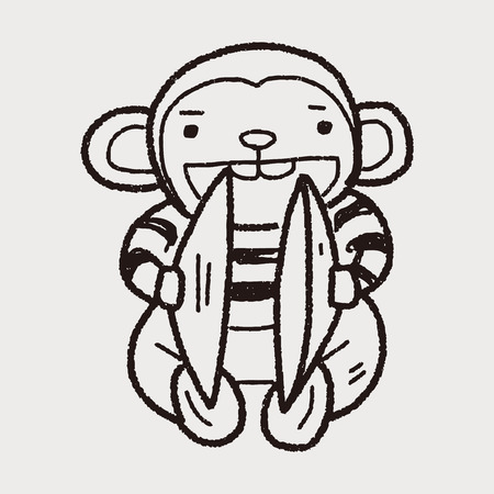 cymbals monkey toy doodle illustration