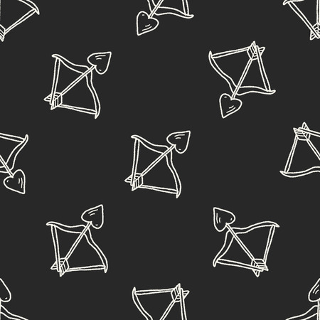 bow and arrow doodle seamless pattern background