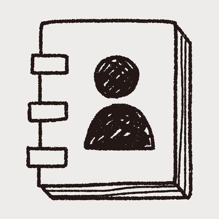 contact book: dibujo libro doodle de contacto