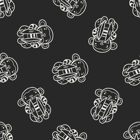 Cymbals: monkey toy doodle seamless pattern background