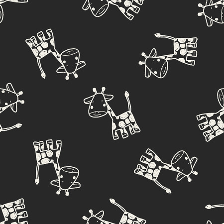 giraffe: giraffe doodle seamless pattern background
