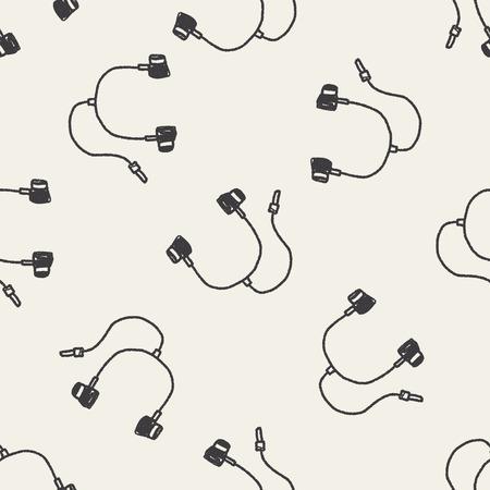 keywords backdrop: Doodle Headphone seamless pattern background