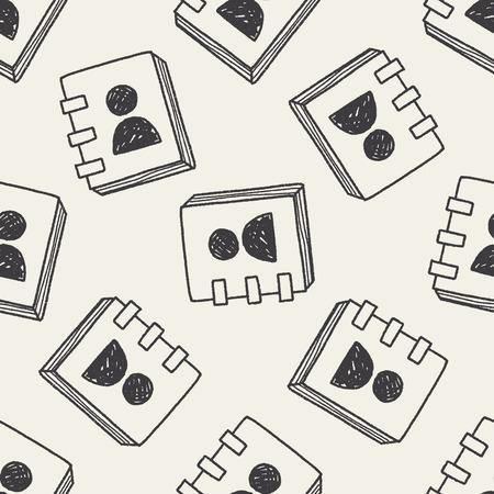 contact book: libro de contactos doodle de fondo sin fisuras patr�n