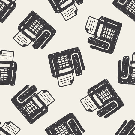 fax machine: Doodle Fax machine seamless pattern background Illustration