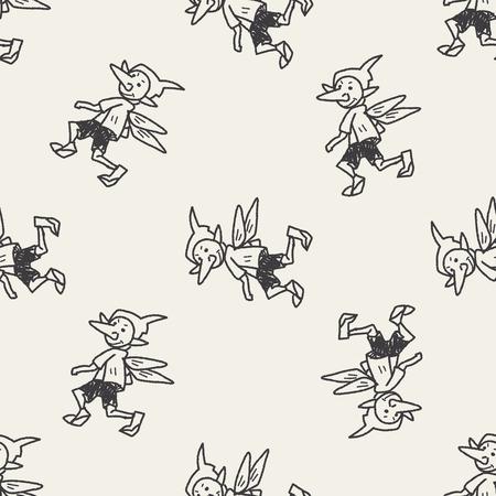 elfs: elf doodle seamless pattern background