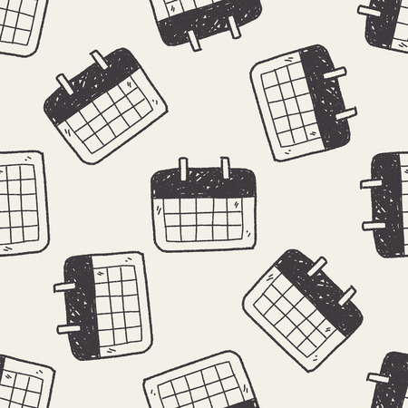 monthly calendar: Monthly calendar doodle drawing seamless pattern background