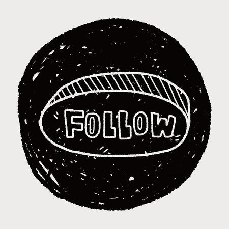 follow: follow doodle Illustration