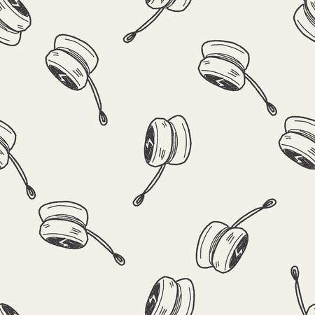 yoyo: yo-yo doodle seamless pattern background Illustration