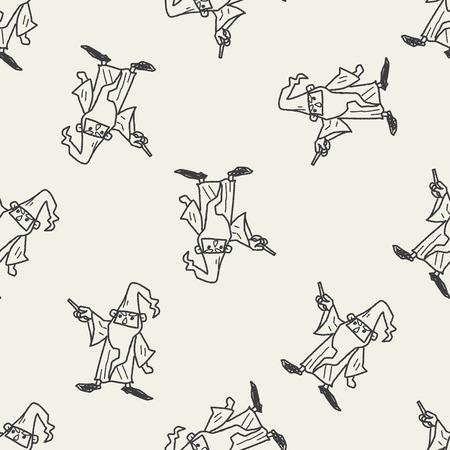 mago merlin: Doodle asistente de patrones de fondo sin fisuras Vectores