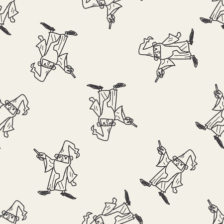 merlin: wizard doodle seamless pattern background Illustration