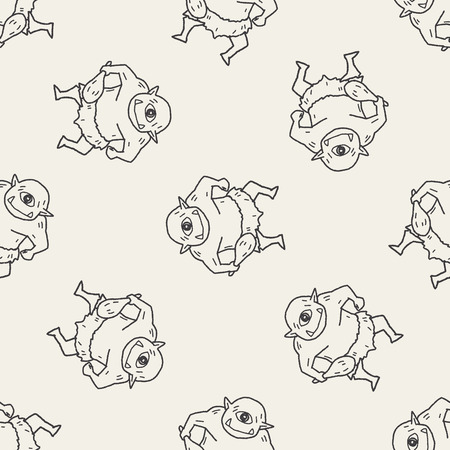 cyclops: giant ogre doodle seamless pattern background Illustration