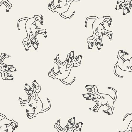 headed: Cerberus doodle seamless pattern background