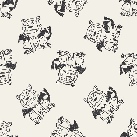 angry lion: lion monster doodle seamless pattern background