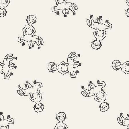 centaur doodle seamless pattern background Vector