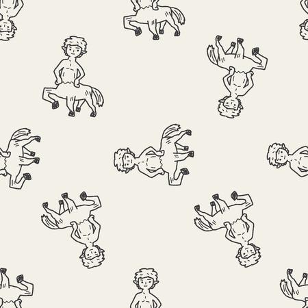 centaur: centaur doodle seamless pattern background