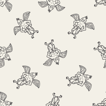 griffin doodle seamless pattern background Vector