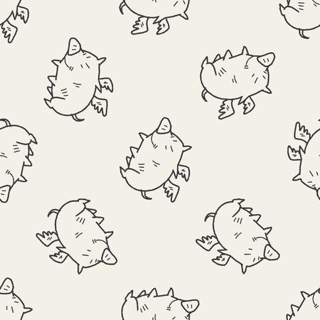 flying pig: flying pig doodle seamless pattern background
