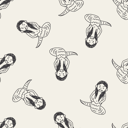 medusa: Medusa doodle seamless pattern background