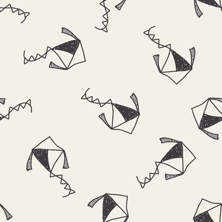 paper kites: Kite doodle seamless pattern background