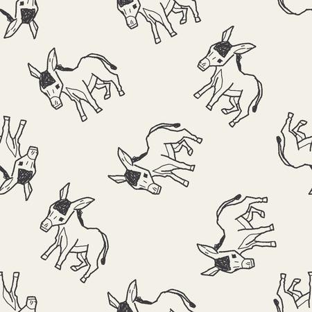 burro: doodle de burro fondo sin patrón