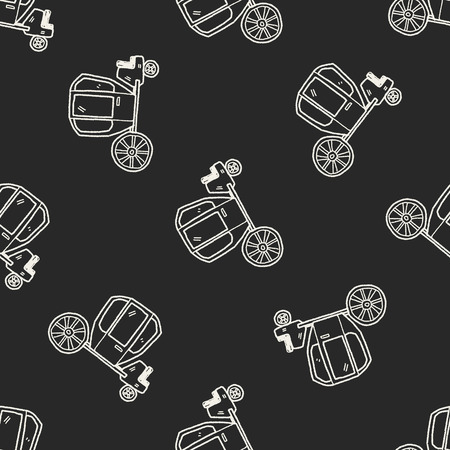 carriage doodle seamless pattern background Vector