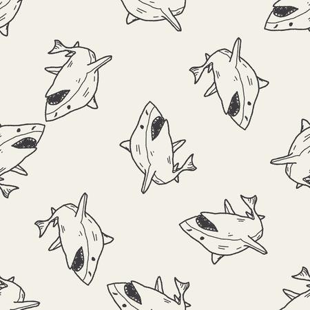 shark fin: shark doodle seamless pattern background