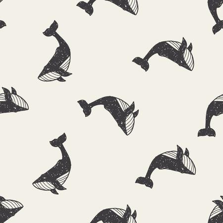 walvis doodle naadloze patroon achtergrond