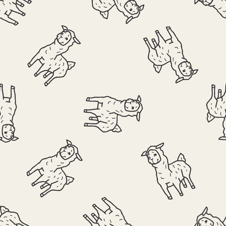 llama doodle seamless pattern background Vector