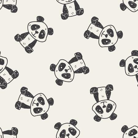 oso panda: doodle de panda patrón de fondo sin fisuras Vectores