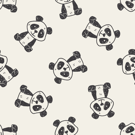 panda doodle seamless pattern background
