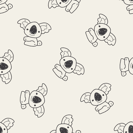 koala doodle seamless pattern background