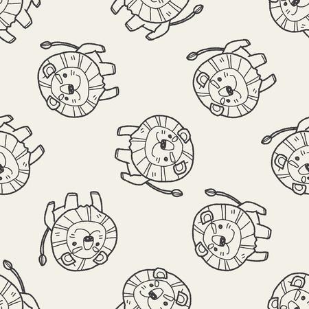 lion dessin: doodle lion seamless fond Illustration