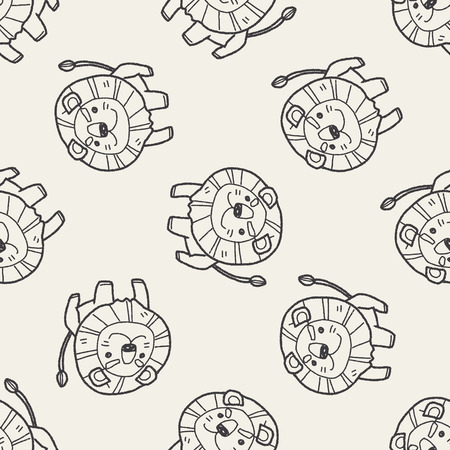 lion drawing: lion doodle seamless pattern background