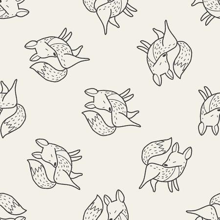 zorro: zorro doodle de fondo sin fisuras patrón Vectores