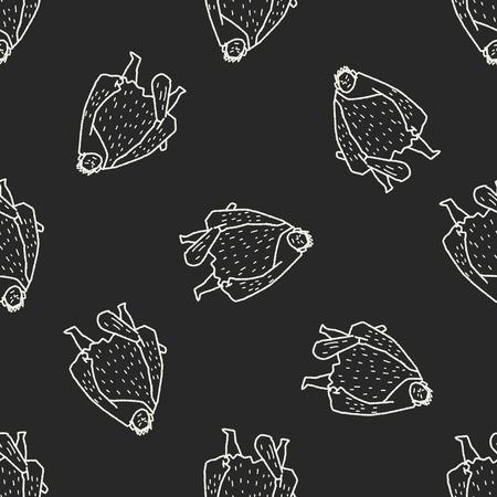 david and goliath: giant ogre doodle seamless pattern background Illustration