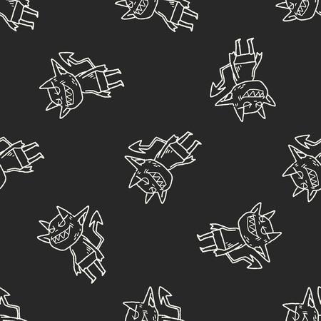 devilish: devil doodle seamless pattern background