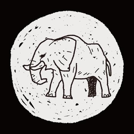 elephant doodle Vector