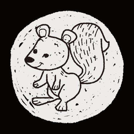 squirrel doodle Vector