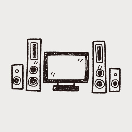 home tv doodle Vector