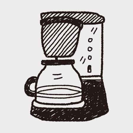메이커: 커피 메이커 낙서 일러스트
