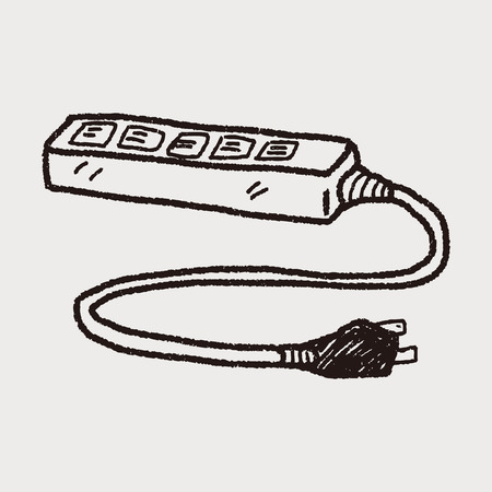 extension cord doodle Vector